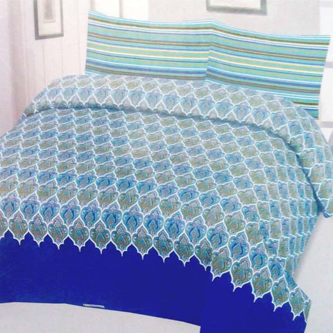 Blue Floral Bedsheet With Lining Pillow