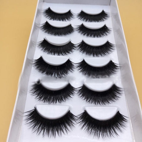 False Eye Lashes 1 Box 6 Pair Thick Black