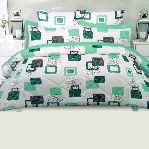 Green King Size Cotton Bed Sheet