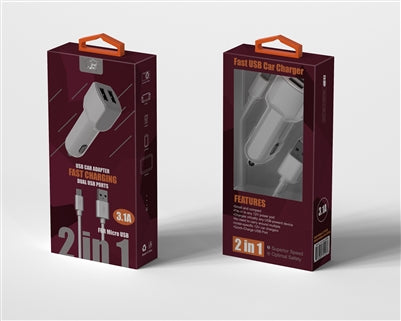 WindWing | 2 IN 1 V9 Fast Car Charger - White - charger -Warsaw Wireless