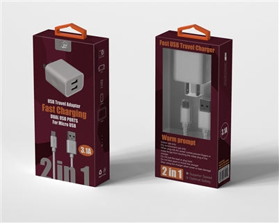 WindWing | 2 IN 1 V9 Fast USB Charger - White - charger -Warsaw Wireless