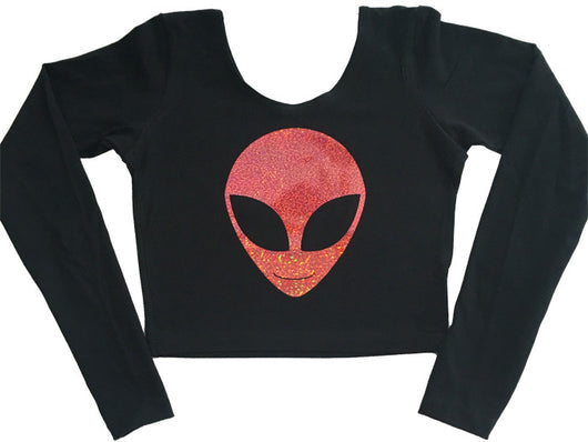 Long Sleeve Holographic Alien Crop in Pink