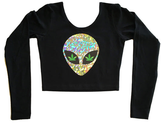 Long Sleeve Ganja Babe Crop