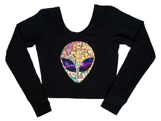 Long Sleeve Galaxy Crop