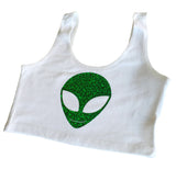 White & Green Alien Crop
