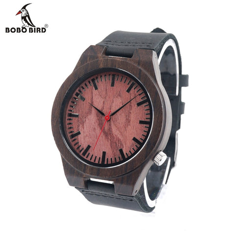 BOBO BIRD B15 Ebony Wood Men's Designer Red Sandalwood Quartz Watch With Genuine Leather Strap Casual Analog Wristwatch For Gift