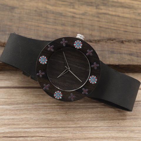 BOBOBIRD D25 Ebony Black Wood Women Dress Watch With Print Flowers For Ladies Watch With Anolog Quartz Watch With Git Box