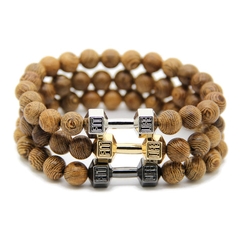 Ailatu Powerful GYM Dumbbell Jewelry for Men, 8mm Natural Wood Beads Fashion Barbell Bracelet