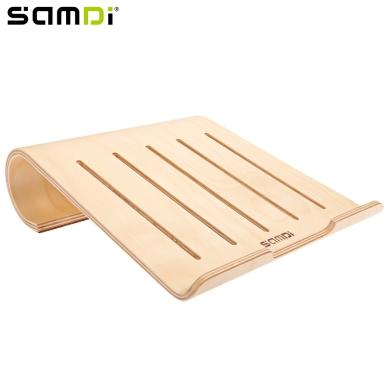 SAMDI Protable Lightweight Wooden Laptop Holder Wood Radiator Stand Support Desk for iPad MacBook Notebook Computer