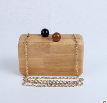Famous Brand Women Wooden Shoulder Bag Evening Party Wood Box Clutch Bag