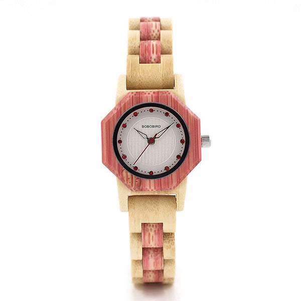 BOBO BIRD Bamboo Women Watches Crystal Dial Ladies Dress Watch in Wooden Box