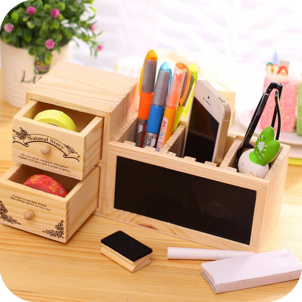 Wooden Pen Holder with Blackboard Cute Desktop Pencil Holder Kawaii Desk
