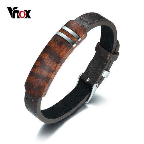 Vnox Antique Rosewood Wooden Men Bracelet Genuine Leather Bracelet Stainless Steel