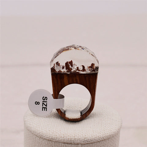 Round clear handmade Secret Forest resin Wooden