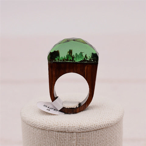 round green handmade Secret Forest resin Wooden