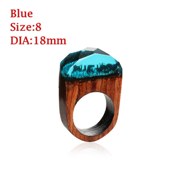 Wood Resin Ring With Magnificent Tiny Fantasy Secret