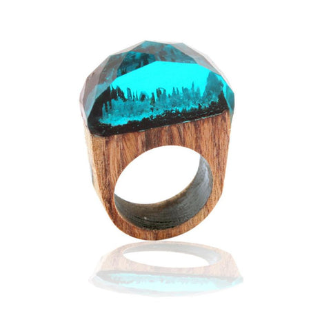 Design Polygon18mm Handmade Wood Resin Ring