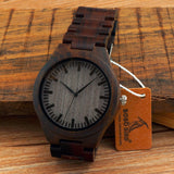 Men's Watches All Black Wood Wristwatch