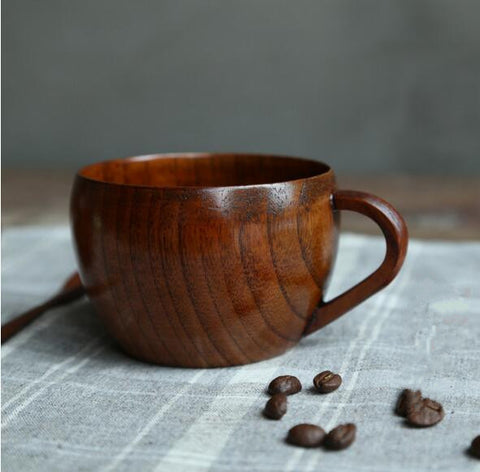 260ml Wooden Tea Cup Beer Mugs With Handgrip