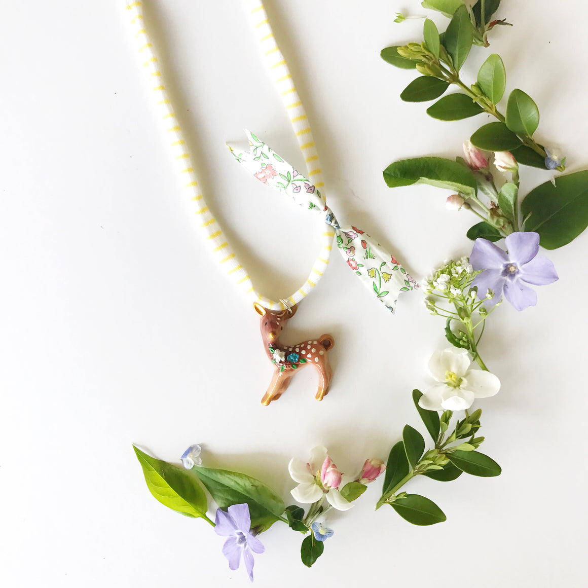Floral fawn necklace