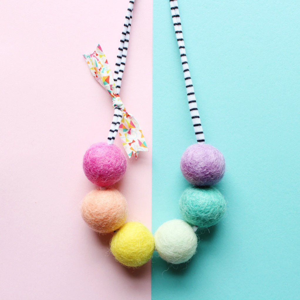 The 'party girl' woolie ball necklace