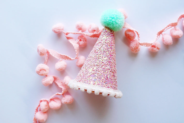 Peach glitter party hat