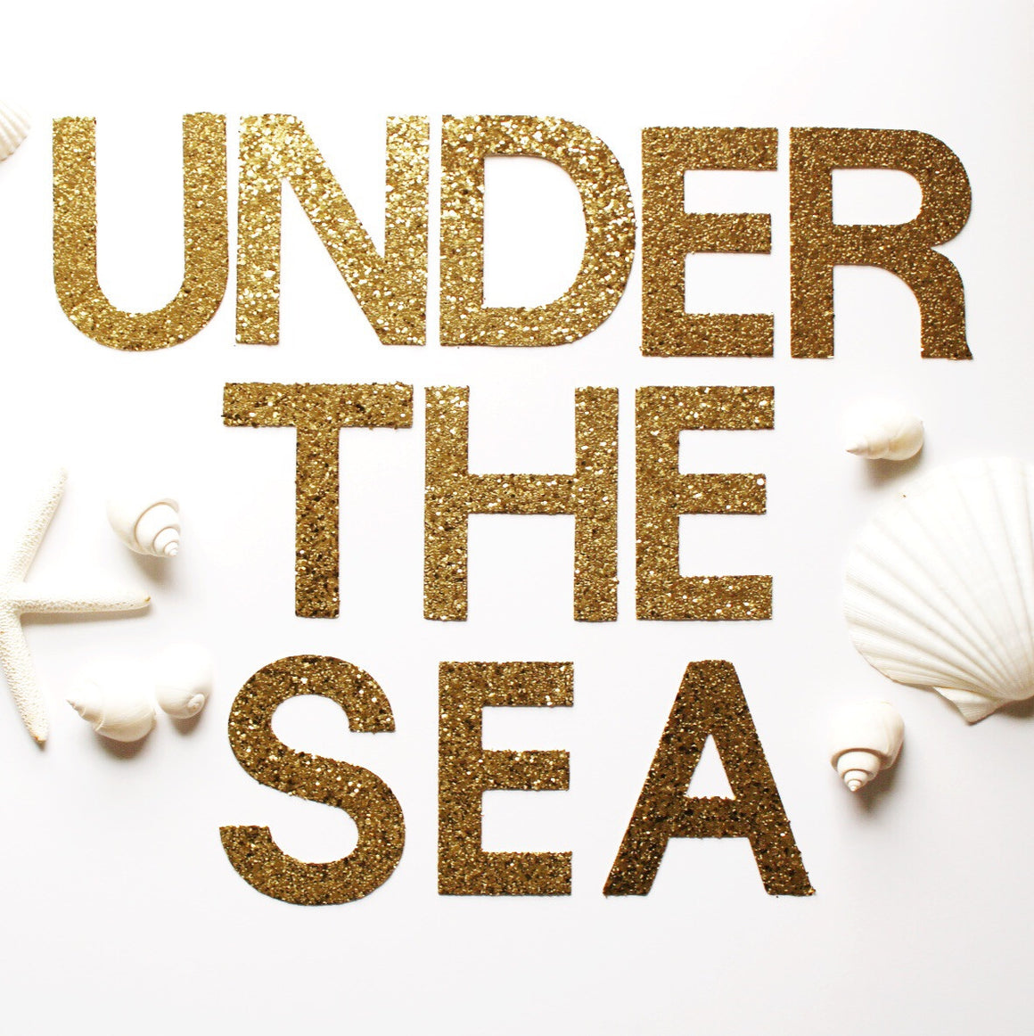 gold glitter banner // UNDER THE SEA // mermaid party