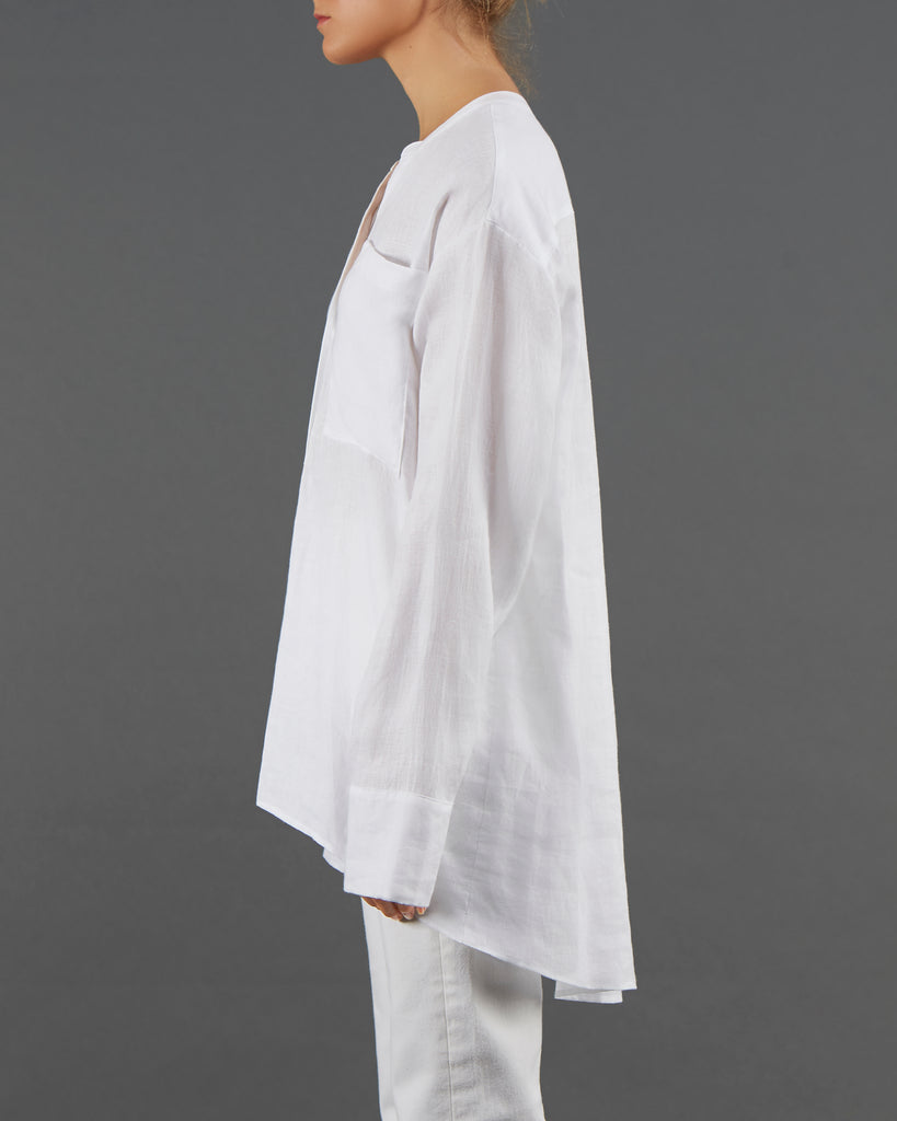 Alexi WW029 A beautiful Collarless Irish linen shirt at its simplest.