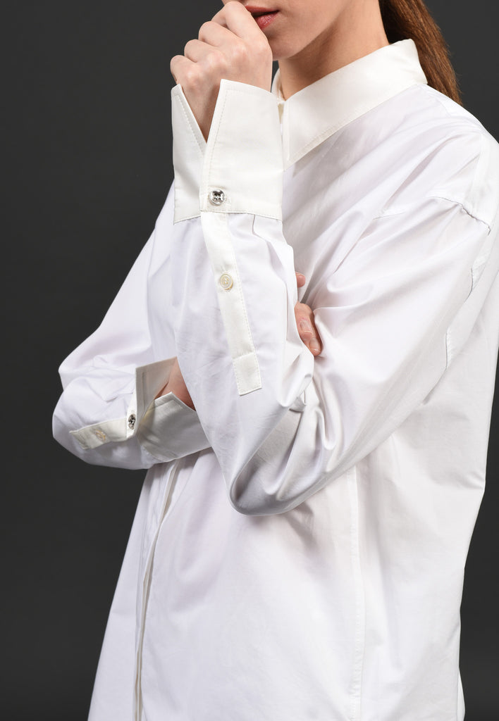 White and White Shirt WW01 Beautiful silk combined with Italian cotton