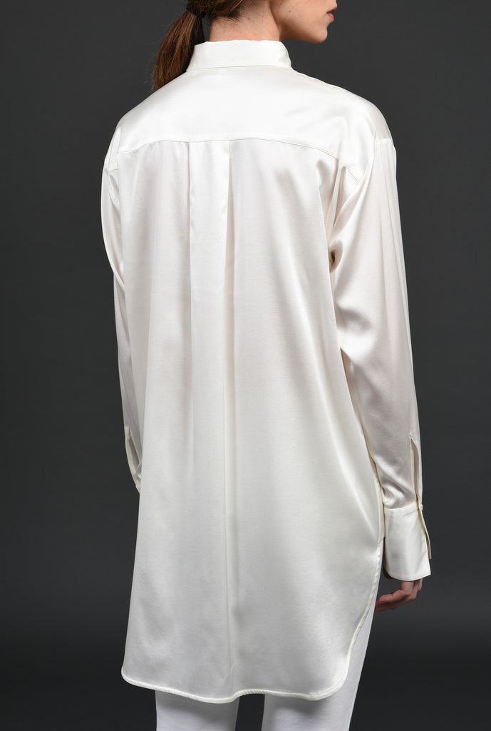 White and White Shirt WW02 The luxury of silk with a touch of stretch