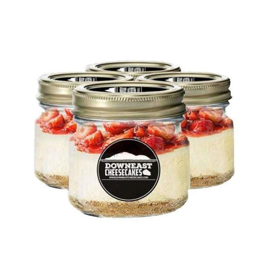 strawberry cheesecake in a mason jar
