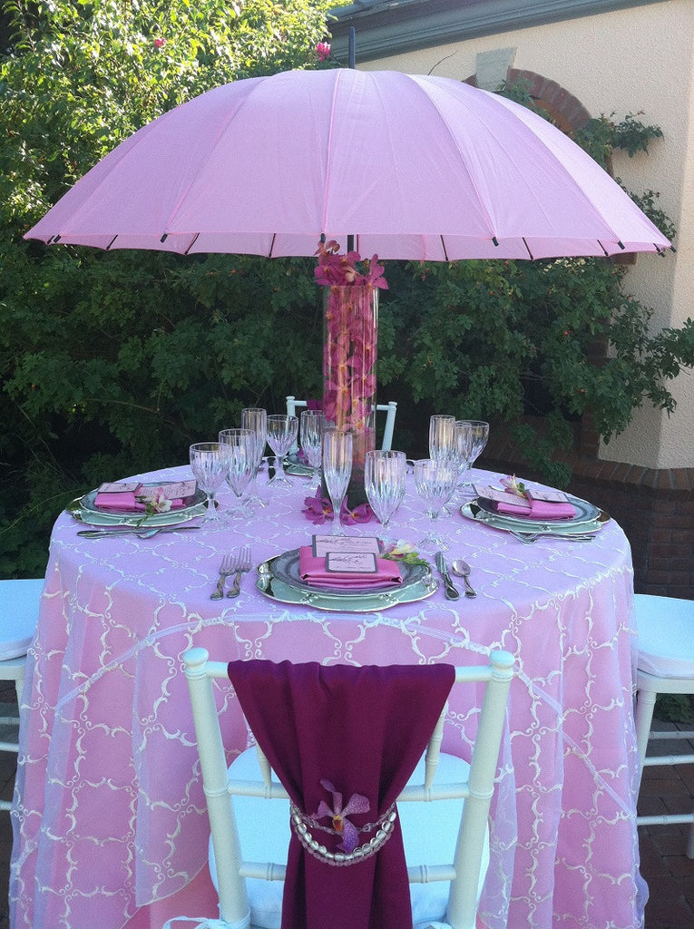 Pink umbrella centerpiece