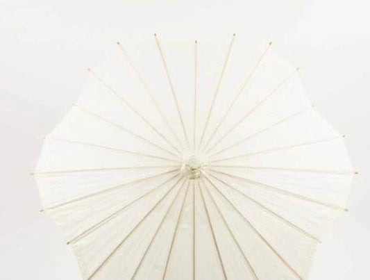 Off-White Scalloped Paper Parasol