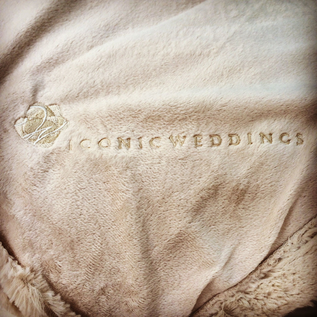 Personalized faux fur blankets for Iconic Weddings