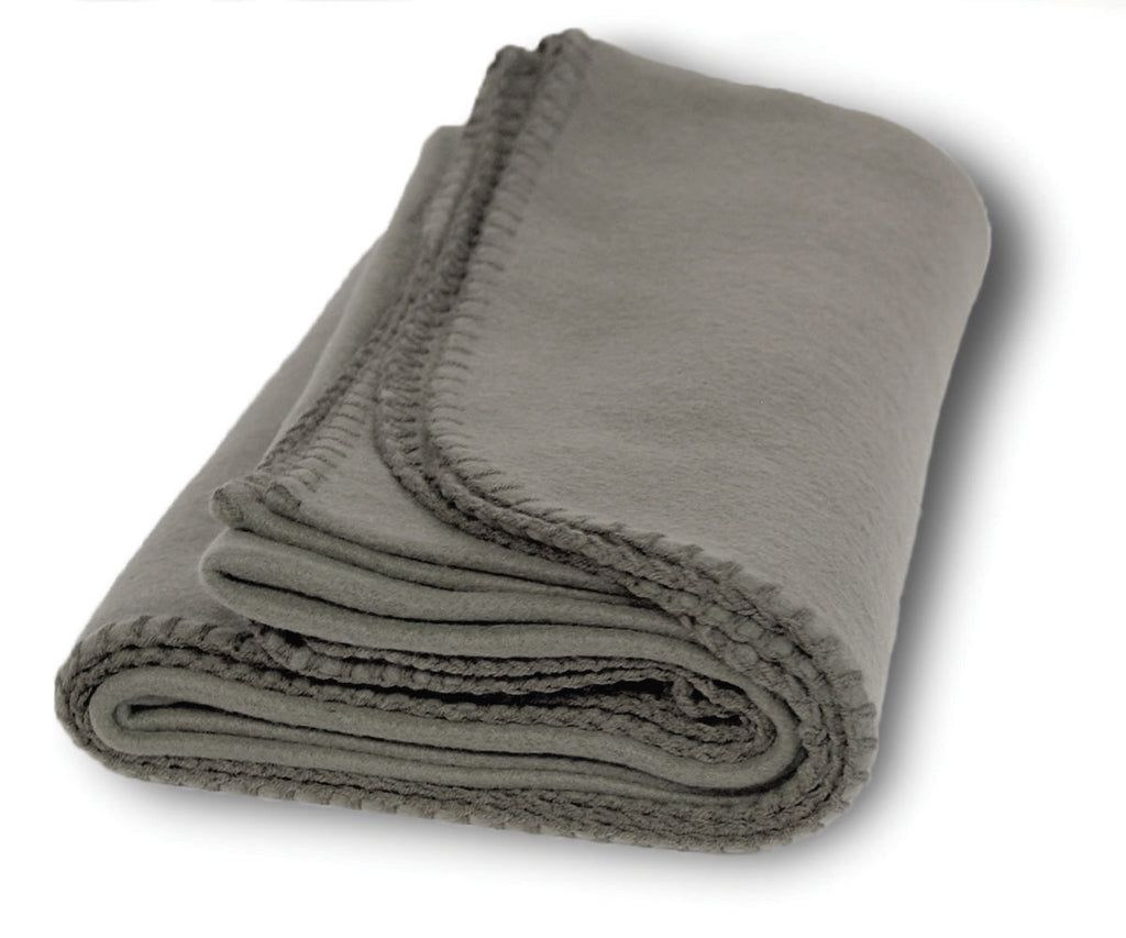 Charcoal fleece blanket with whipstitched hem