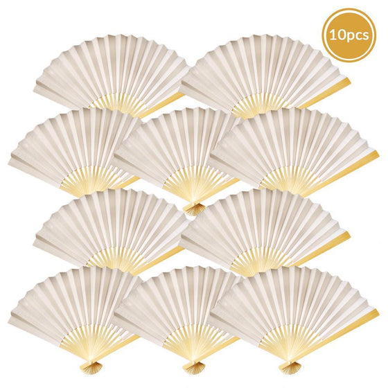 Beige Paper Folding Fan (10 pack)