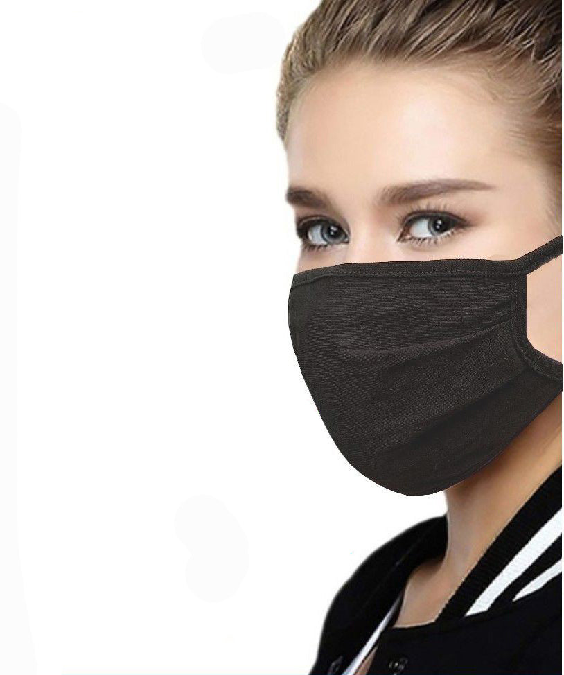 Black Cotton Face Mask with Filter Pocket
