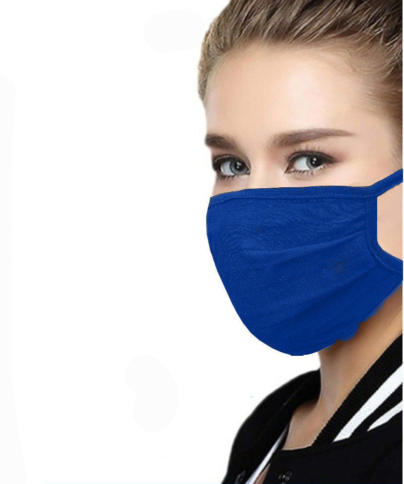 Royal Blue Cotton Face Mask with Filter Pocket