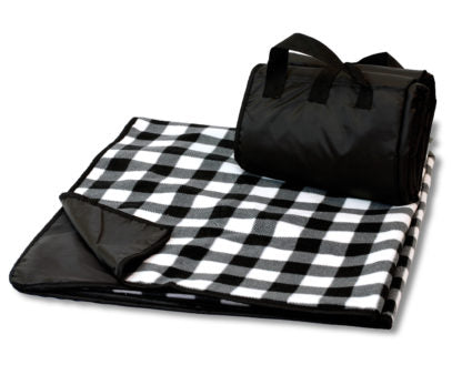 White Plaid Picnic Blanket
