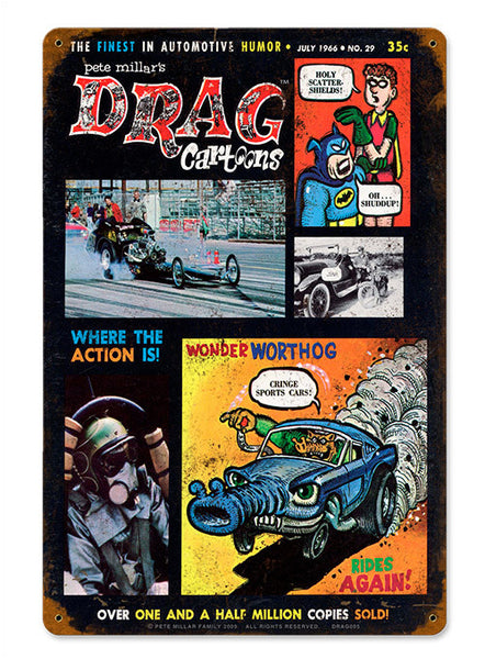 Drag Cartoons 1966 Sign