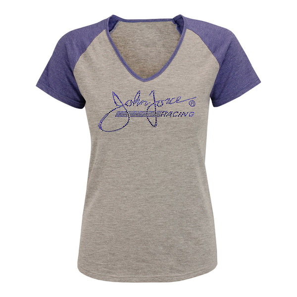 John Force Ladies Rhinestone V-Neck