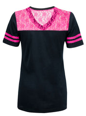 Ladies Lace Varsity Football Tee