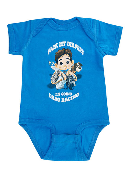 Blue Infant Going Drag Racing Onesie