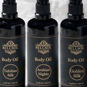 Bellsol Body oil is a luxurious natural body oil. Light non-greasy anti-aging multi taking. Moisturizing for dry skin, dry hair with split ends, dry hands.
