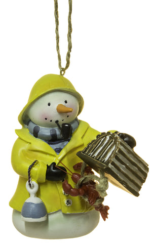 3 Inch Snowman Old Fisherman Christmas Ornament