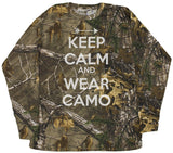 Men's Keep Calm And Wear Camo Realtree Camoflauge Long Sleeve Shirt