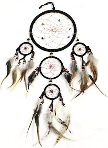 "18"" Long Feather/Leather Hanging Dream Catcher"