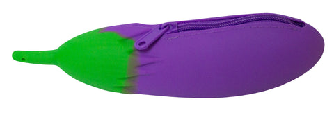 8.5 inch Silicone Zippered Eggplant Coin Purse
