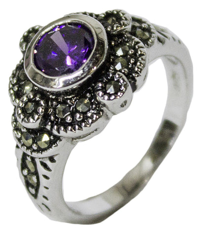 Women's Rhodium Plated Dress Ring Amythest CZ and Marcasite 055