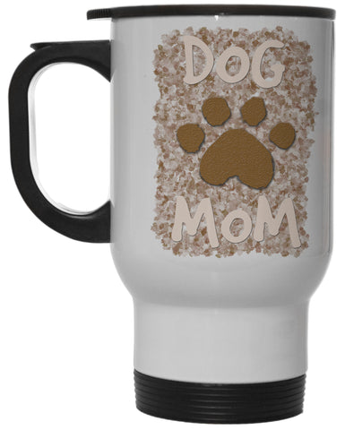 Dog Lovers Dog Mom with Paw Print 12 Oz White Steel Hot/Cold Travel Mug